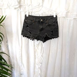 BLACK denim distressed booty shorts-Get 2 $15-items for $20
